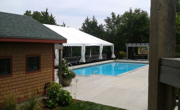 View of 30 X 60 tent by pool