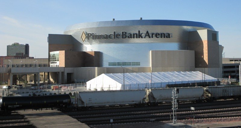 Image of Large weighted Clear Span Tent set at Pinnacle Bank Arena