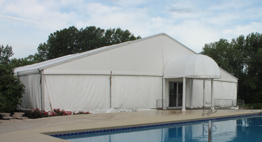 view of Tent set with bubble entry by pool