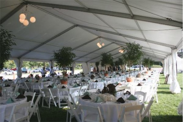 Image of interior of 40 X 120 tent set at Antelope Park Rose Garden Lincoln, NE