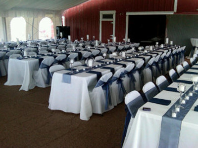 Image of wedding tent set at the Marton Barns in Nebraska City on the Arbor Day Farms