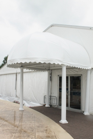 view of clear span tent with fancy entry