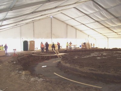 Image of tent used to allow a winter construction job