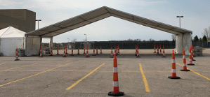 Image of Tent For Covid19 Drive Through Testing.