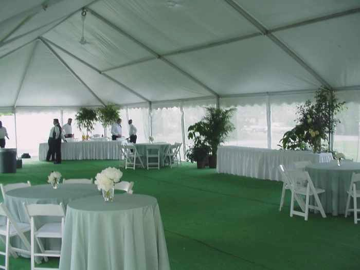 view of Tent with screen walls for Omaha NE backyard wedding reception
