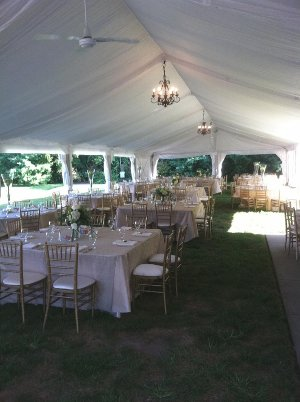 Image of inside of tent setup up at Marton Barns for wedding reception.