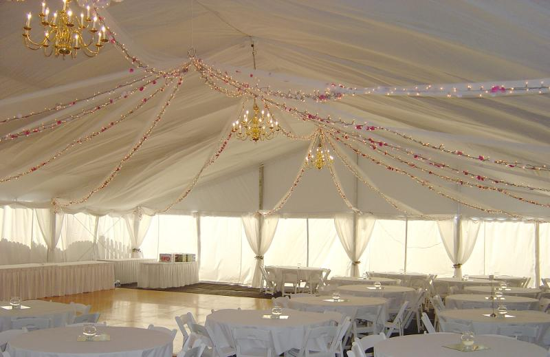 Image of dance floor and liner in wedding tent rental Lincoln Nebraska