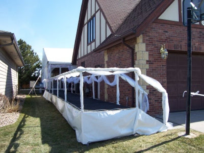 Day time view of Lincoln Ne wedding reception tent entrance