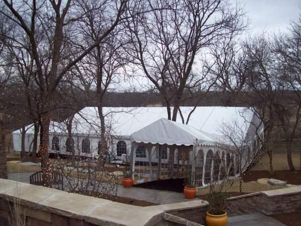 wedding tent with cathedral walls rented for wedding reception at a home in Denton, Nebraska