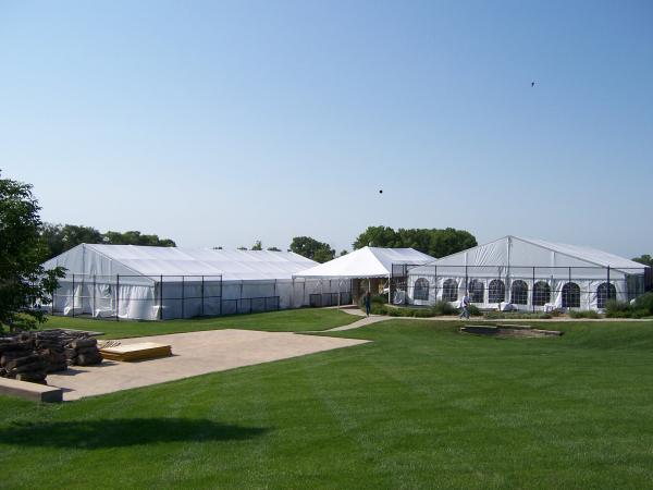 Image of tent reception on tennis court