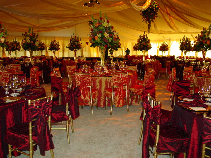 Image of decorated clear span tent rental Omaha NE wedding tent reception