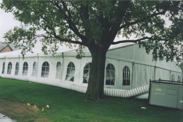 Image of outside of tent at country club with air conditioning