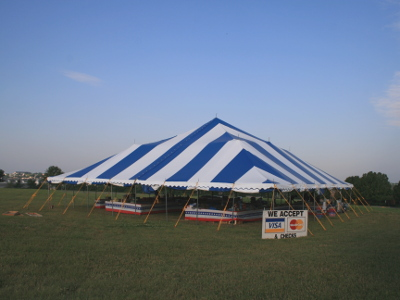 image of 60 X 60 blue and white fireworks tent