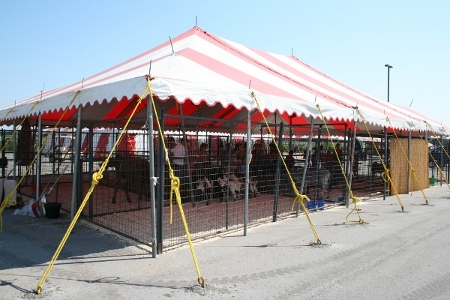 Image of tent for petting zoo at county fair