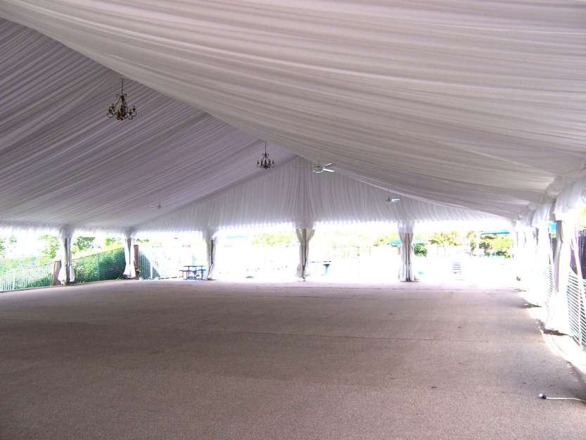 image of clearspan tent decorated pleated liner
