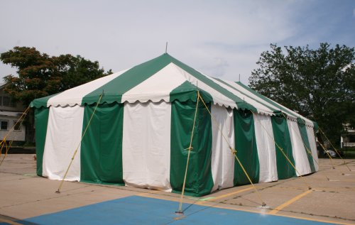image of 20 X 40 green and white fireworks tent