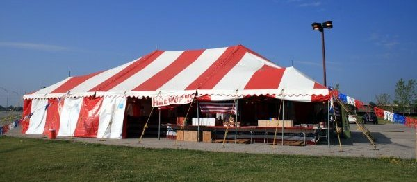 image of 40 X 60 red and white firework tent rental Lincoln NE