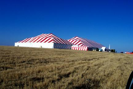 image of Large red & white Commercial Tent for ground breaking