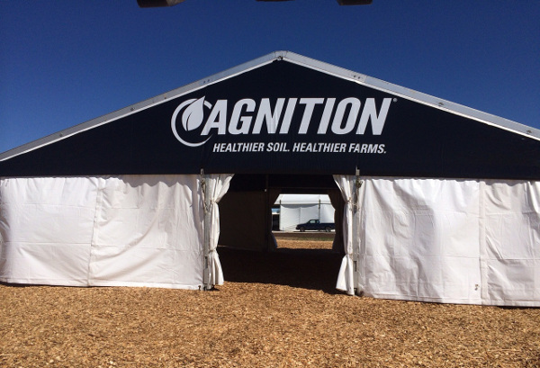 IMAGE of 40 X 35 black tent with custom graphics on gable end