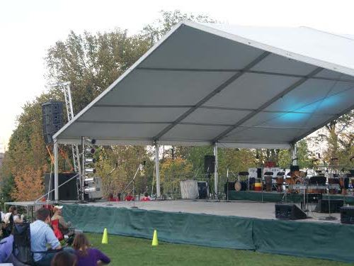 front view of stage with canopy used to create a stage cover