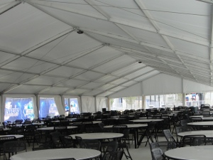 Image of a permanent pavillion with tables set inside.