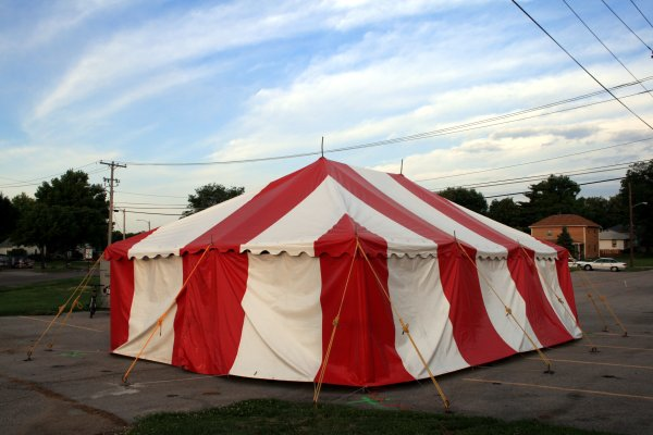 image of 20 X 30 small red and white tent