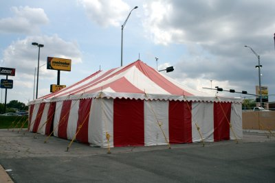 image of 30 X 50 red and white festival tent