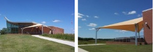 Image of shade structure at Homestead National Monument.