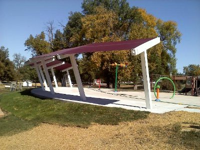 Shade cover provided for play area at spray park.