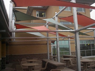 Image shade panels - eating area is shaded by innovative shade structure.