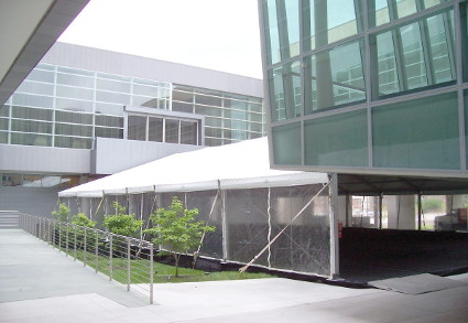 Image of entry way tent at Holland Preforming Arts Center Omaha, Ne