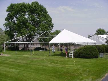 Frame Tent with Fabric Partially Pulled set for tent rental Kansas City area
