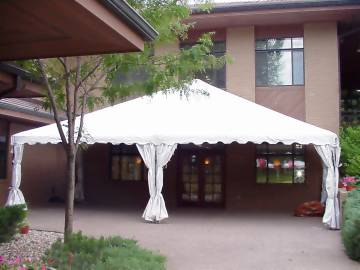 Frame Tent set against building South Dakota