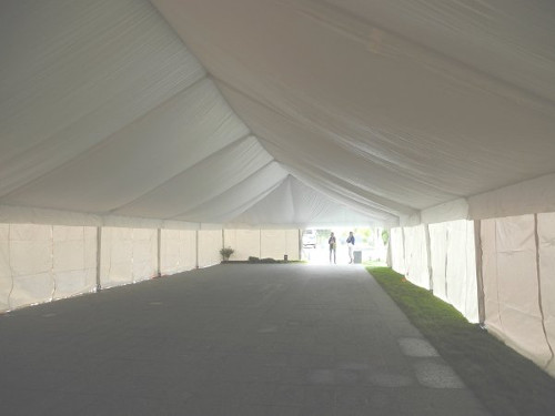 Interior of lined tent set in Omaha Nebraska