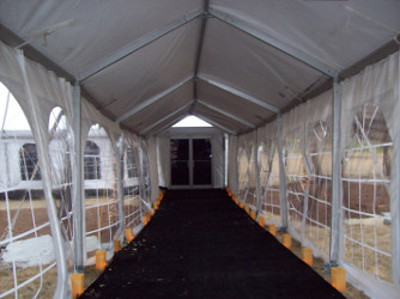 Image of walkway interior for tent covering entry walk to reception tent