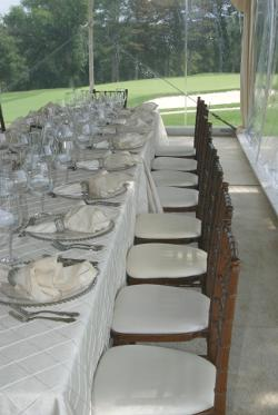 Image of clear wall showing golf course from Omaha NE wedding tent rental