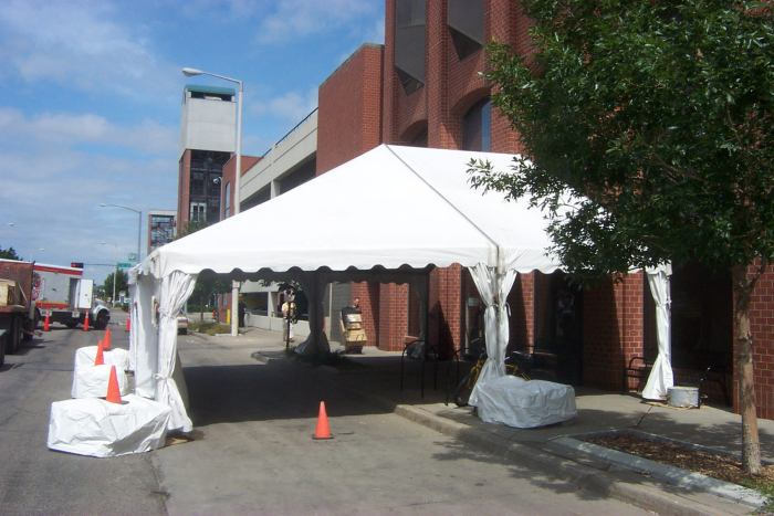 image of Unique Frame Tent set in street
